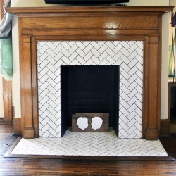 Herringbone Tile Fireplace