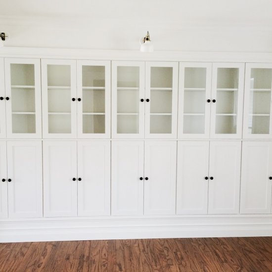 ... DIY IKEA Hack Built In Cabinets