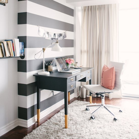 Black White And Pink Office