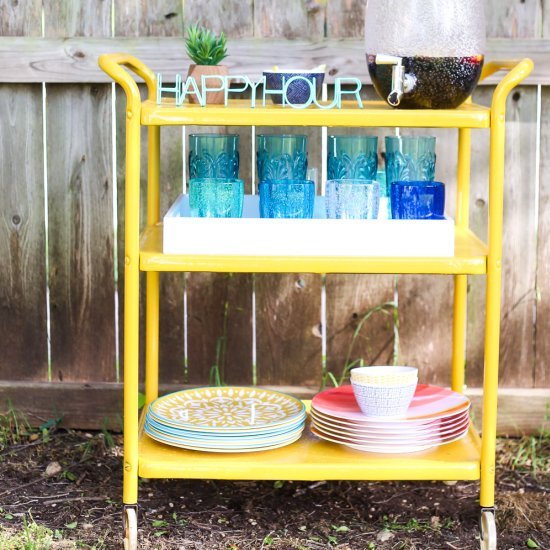 DIY Painted Outdoor Bar Cart